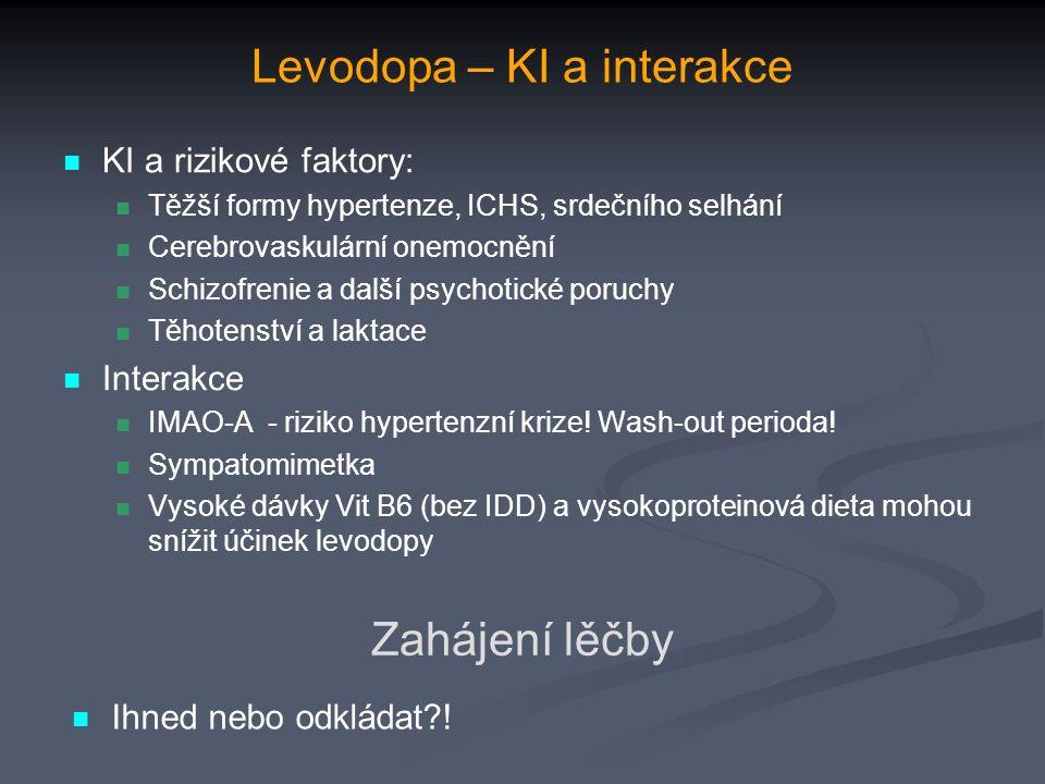 Levodopa – KI a interakce KI a rizikové faktory: Těžší formy hypertenze, ICHS, srdečního selhání Cerebrovaskulární onemocnění Schizofrenie a další psychotické poruchy Těhotenství a laktace Interakce IMAO-A - riziko hypertenzní krize.
