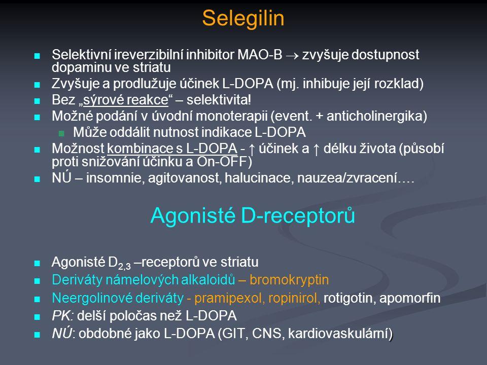 Selegilin Selektivní ireverzibilní inhibitor MAO-B  zvyšuje dostupnost dopaminu ve striatu Zvyšuje a prodlužuje účinek L-DOPA (mj.