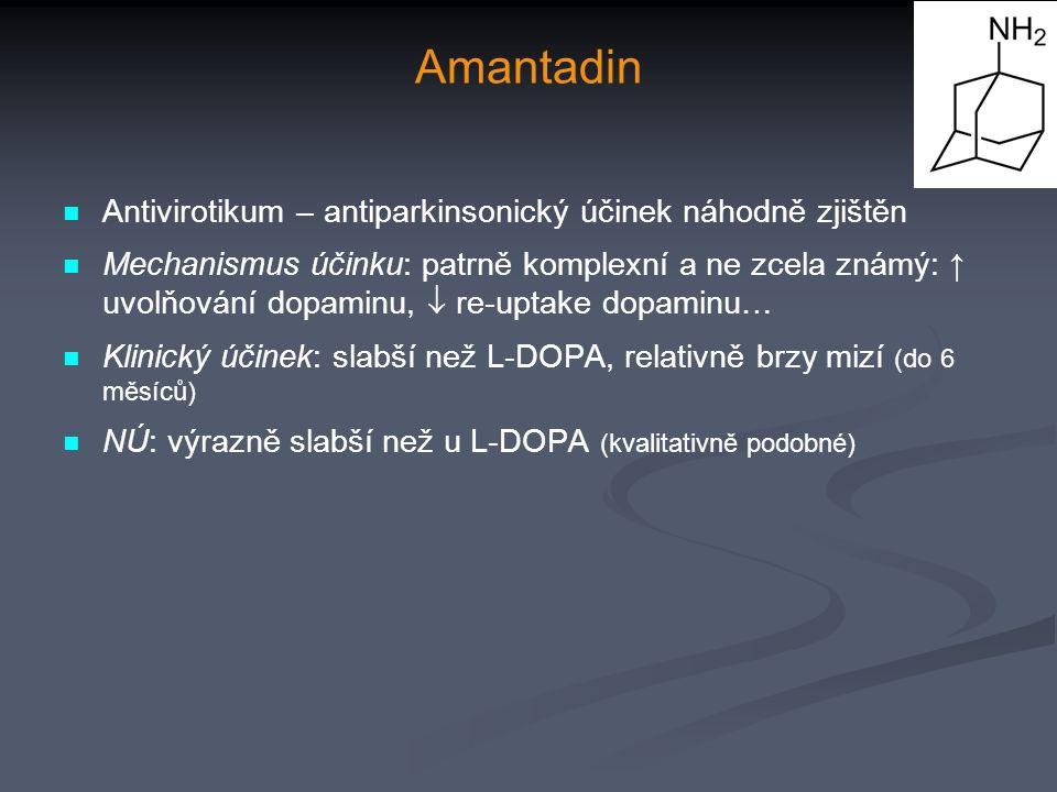 Amantadin Antivirotikum – antiparkinsonický účinek náhodně zjištěn Mechanismus účinku: patrně komplexní a ne zcela známý: ↑ uvolňování dopaminu,  re-uptake dopaminu… Klinický účinek: slabší než L-DOPA, relativně brzy mizí (do 6 měsíců) NÚ: výrazně slabší než u L-DOPA (kvalitativně podobné)