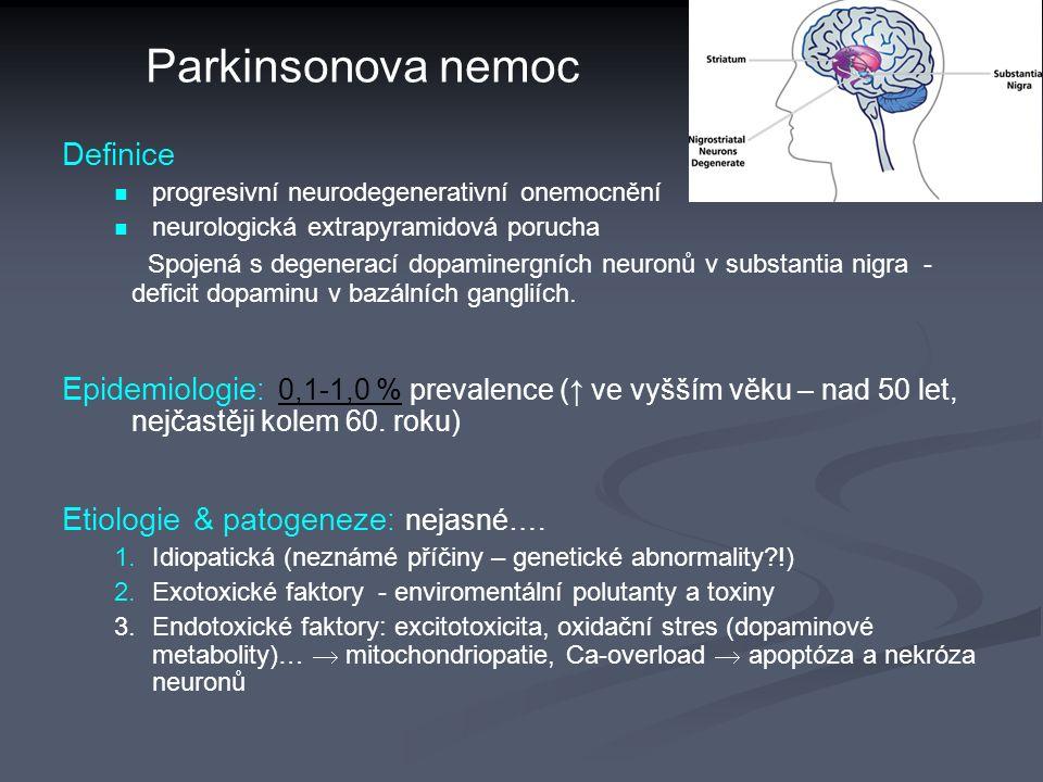 Parkinsonova nemoc Definice progresivní neurodegenerativní onemocnění neurologická extrapyramidová porucha Spojená s degenerací dopaminergních neuronů v substantia nigra - deficit dopaminu v bazálních gangliích.