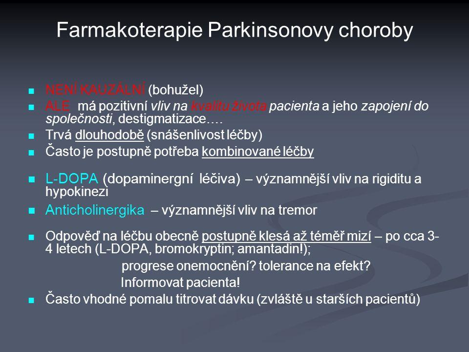 Farmakoterapie Parkinsonovy choroby NENÍ KAUZÁLNÍ (bohužel) ALE má pozitivní vliv na kvalitu života pacienta a jeho zapojení do společnosti, destigmatizace….
