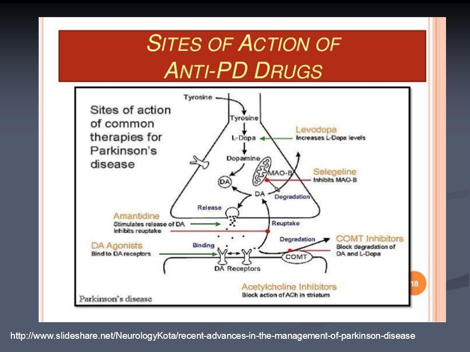 http://www.slideshare.net/NeurologyKota/recent-advances-in-the-management-of-parkinson-disease