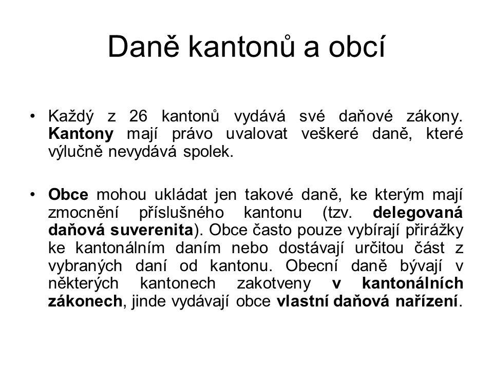Daně kantonů a obcí Každý z 26 kantonů vydává své daňové zákony. Kantony mají právo uvalovat veškeré daně, které výlučně nevydává spolek. Obce mohou u