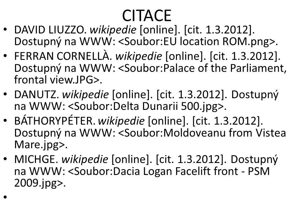 CITACE DAVID LIUZZO. wikipedie [online]. [cit. 1.3.2012]. Dostupný na WWW:. FERRAN CORNELLÀ. wikipedie [online]. [cit. 1.3.2012]. Dostupný na WWW:. DA