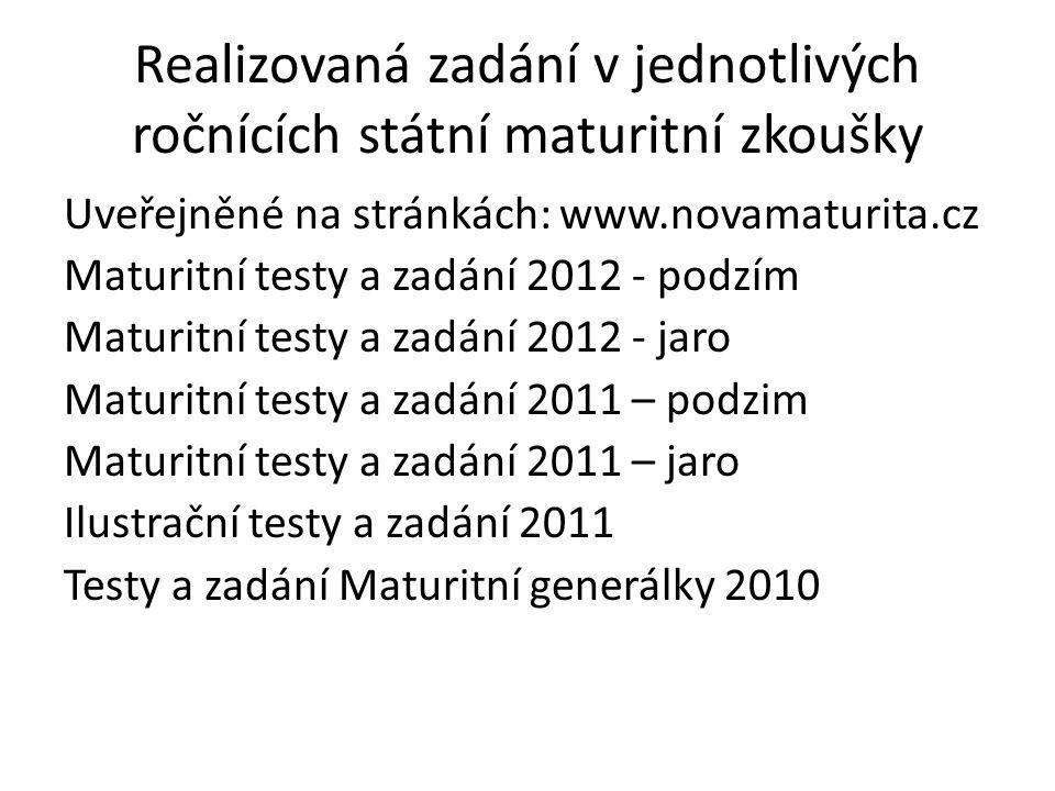 Realizovaná zadání v jednotlivých ročnících státní maturitní zkoušky Uveřejněné na stránkách: www.novamaturita.cz Maturitní testy a zadání 2012 - podz