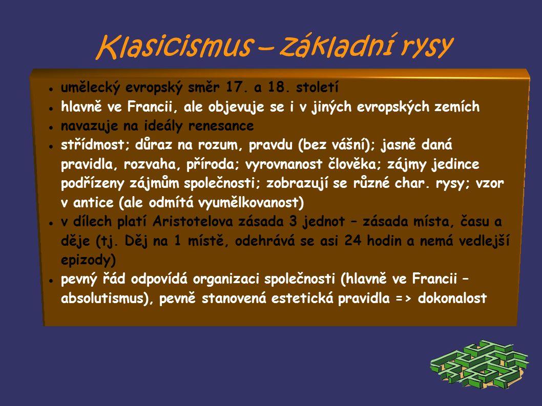 Klasicismus – základní rysy umělecký evropský směr 17.