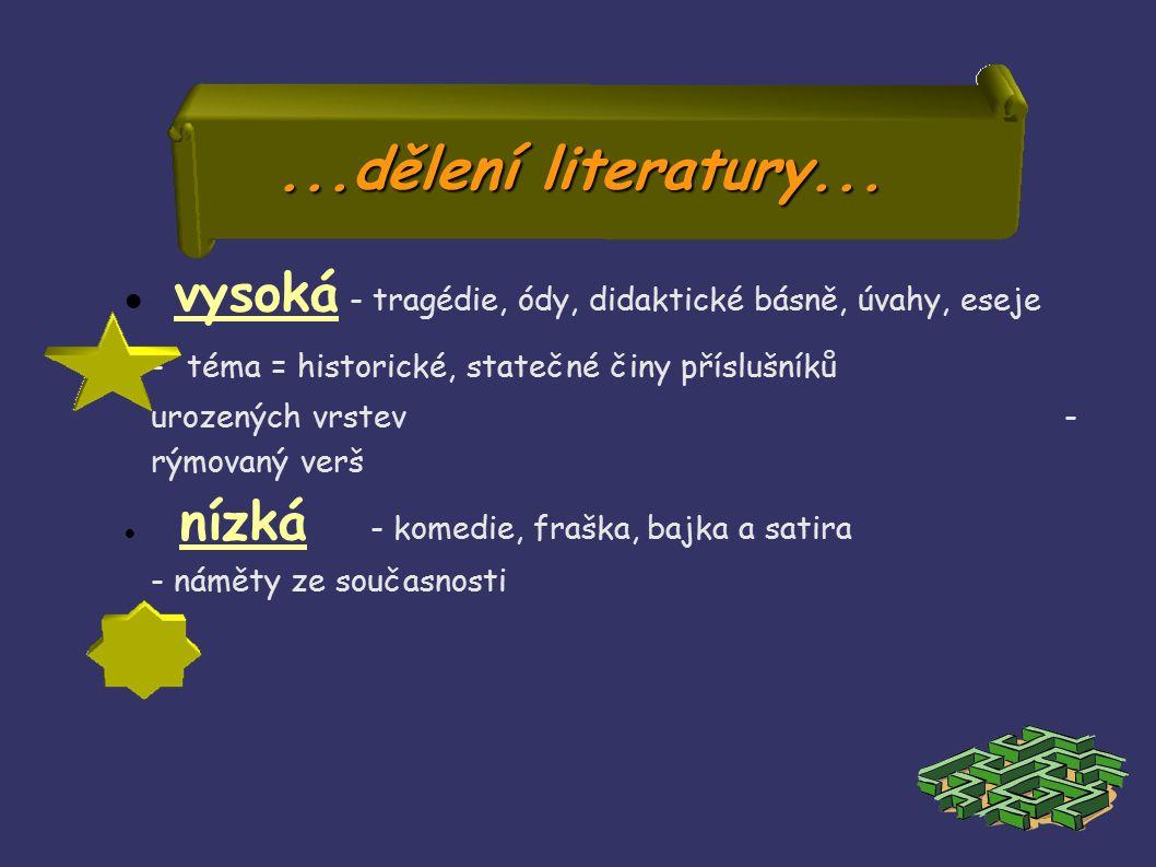 ...dělení literatury...