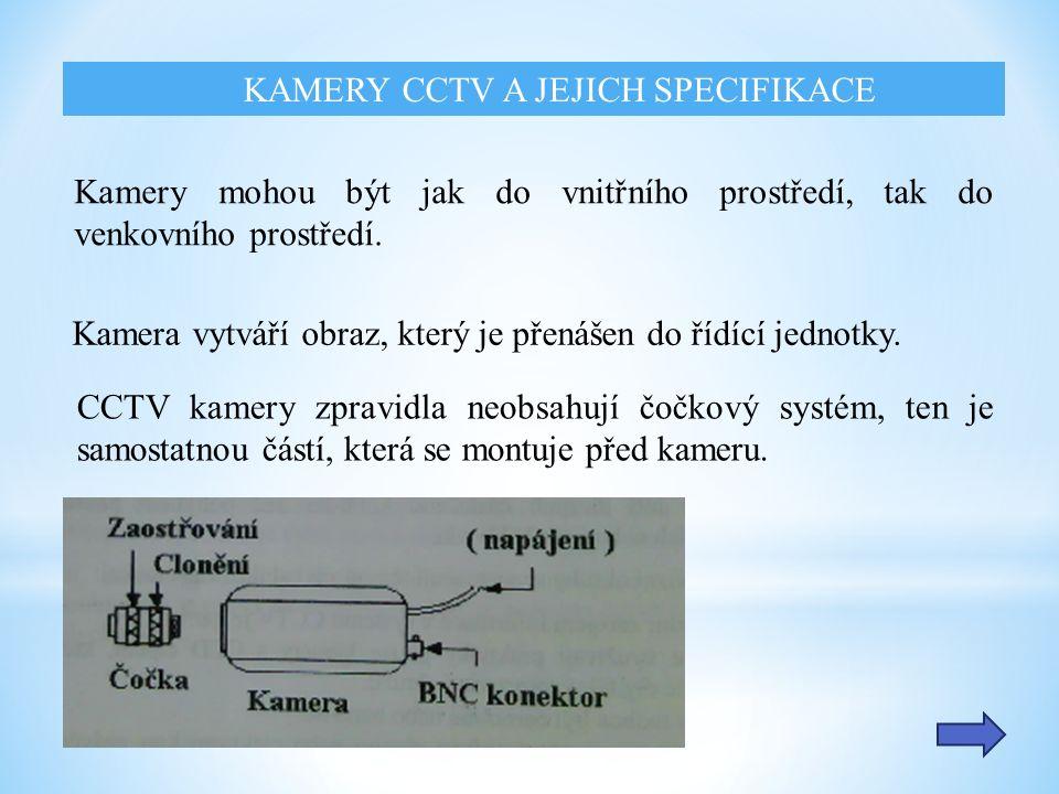 Kamera vytváří obraz, který je přenášen do řídící jednotky.