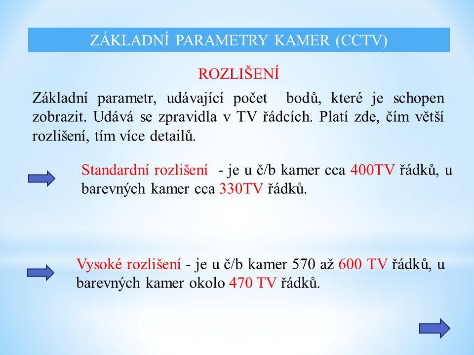 Standardní rozlišení - je u č/b kamer cca 400TV řádků, u barevných kamer cca 330TV řádků.