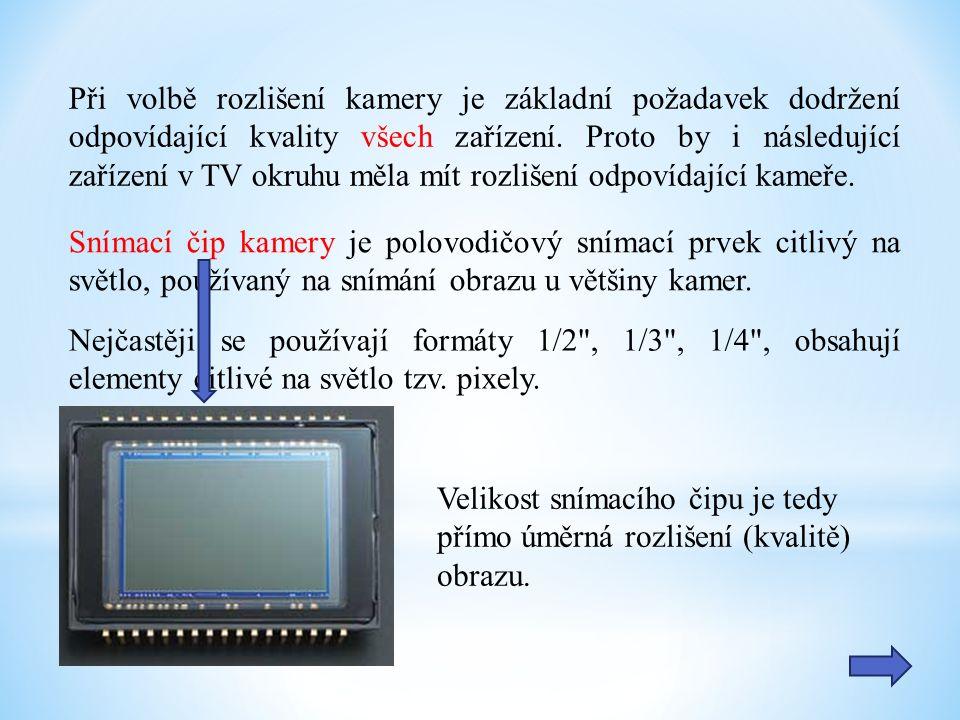 Při volbě rozlišení kamery je základní požadavek dodržení odpovídající kvality všech zařízení.