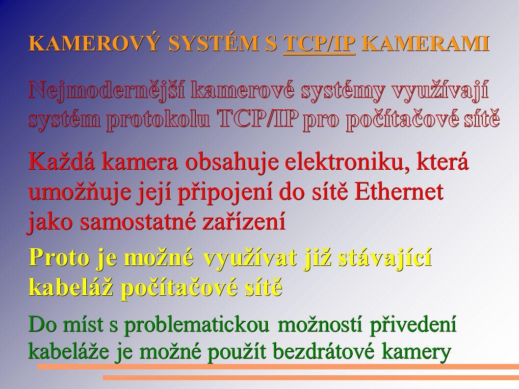 KAMEROVÝ SYSTÉM S TCP/IP KAMERAMI Proto je možné využívat již stávající kabeláž počítačové sítě Každá kamera obsahuje elektroniku, která umožňuje její připojení do sítě Ethernet jako samostatné zařízení Do míst s problematickou možností přivedení kabeláže je možné použít bezdrátové kamery