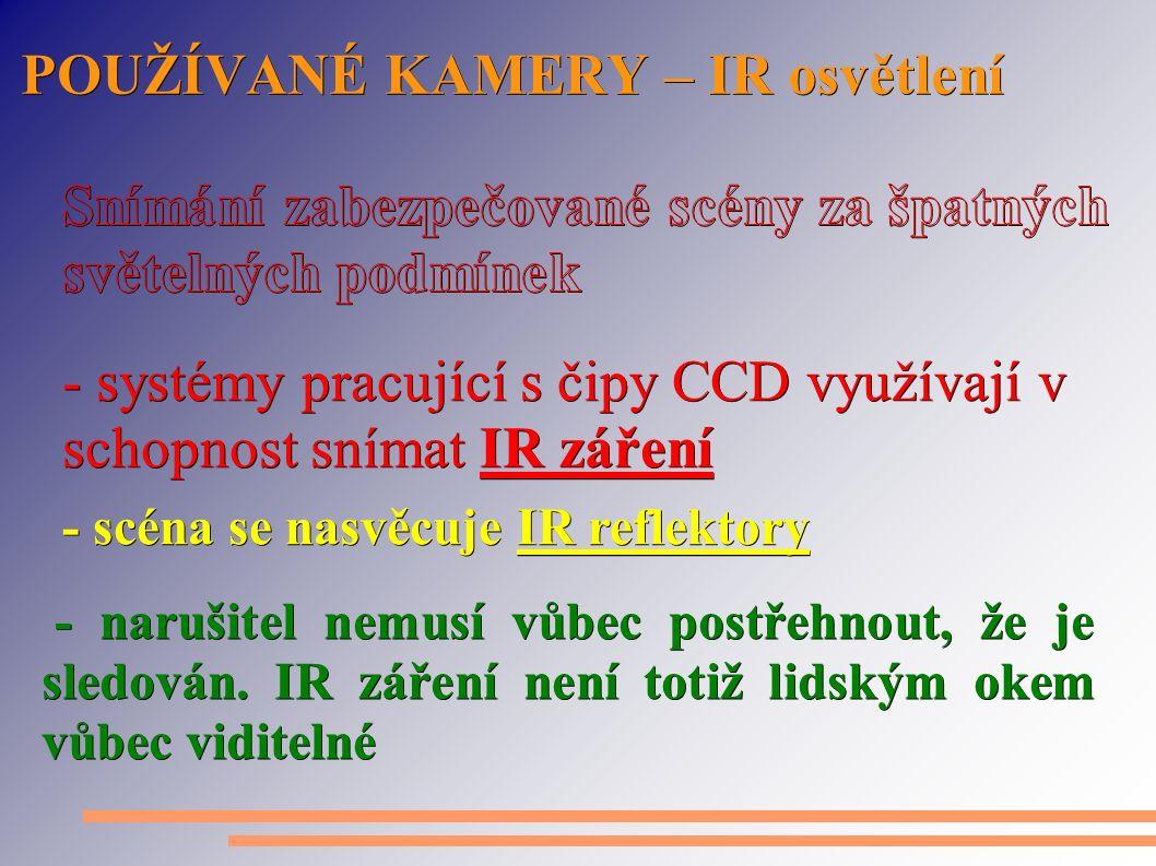 POUŽÍVANÉ KAMERY – IR osvětlení - narušitel nemusí vůbec postřehnout, že je sledován. IR záření není totiž lidským okem vůbec viditelné - narušitel ne