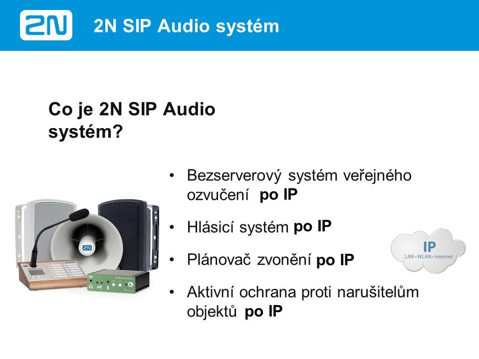 SIPový interkom –Komunikační řešení pro existující přední panely či sloupky SIP (VoIP) Paging –Hlášení z IP telefonů –Definice zón díky PBX či multicastu –Přednahraná oznámení Typické využití 2N ® SIP Audio Converter