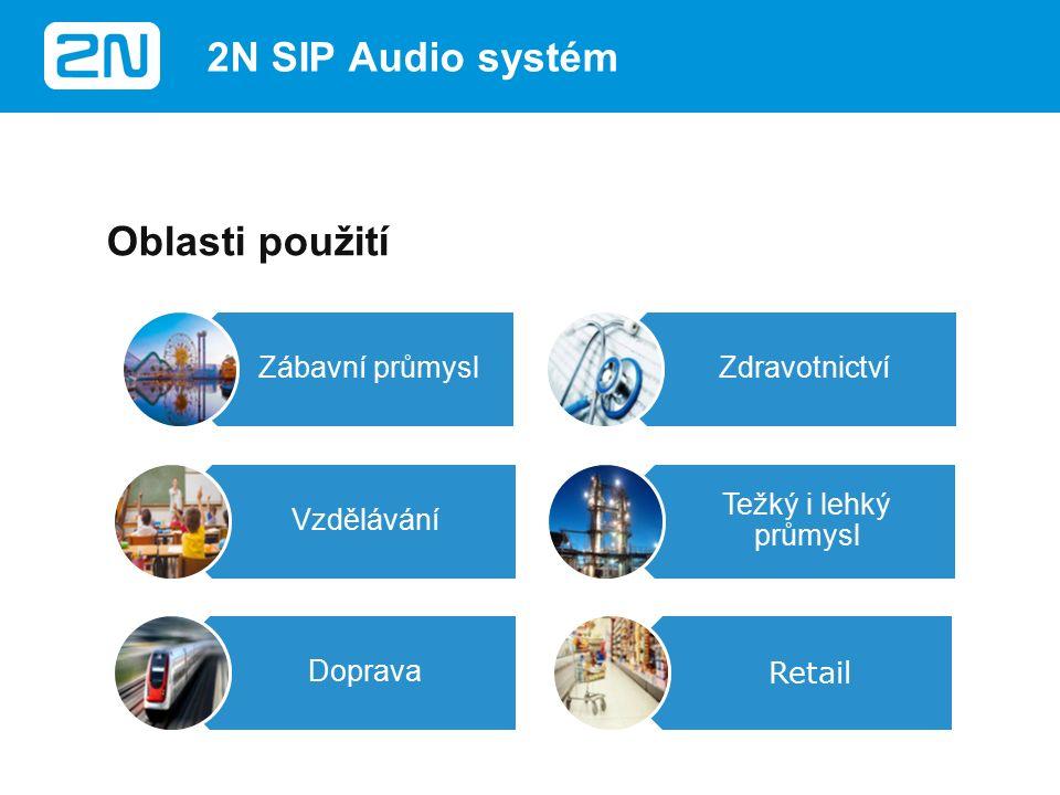 Výhody Snížení celkových pořizovacích nákladů Vzdálená správa (Servis) Snadná instalace (IP/ PoE) Jednoduché nastavení (Drag&Drop) Vytvoření nových, přidanou hodnotu přinášejících řešení (snadná integrace se systémy třetích stan) 2N SIP Audio systém