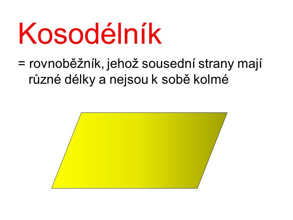 Konstrukce kosodélníku: Sestroj kosodélník ABCD: a = 6 cm; b = 3 cm; úhlopříčka  BD = 5 cm Rozbor: Postup konstrukce: 1) AB;  AB = 6 cm 2) k 1 ; k 1 (A; 3cm) 3) k 2 ; k 2 (B; 5cm) 4) D; D ∈ k 1 ∩ k 2 5) m; m   AB, D ∈ m 6) p; p    AD, B ∈ p 7) C; C ∈ m ∩ p 8) kosodélník ABCD A B C D a = 6 cm b = 3 cm 5 cm