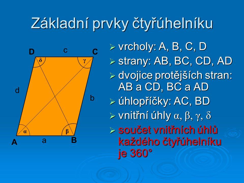 Základní prvky čtyřúhelníku  vrcholy: A, B, C, D  strany: AB, BC, CD, AD  dvojice protějších stran: AB a CD, BC a AD  úhlopříčky: AC, BD  vnitřní úhly α, β, γ, δ  součet vnitřních úhlů každého čtyřúhelníku je 360° A B DC γ α δ β a b c d
