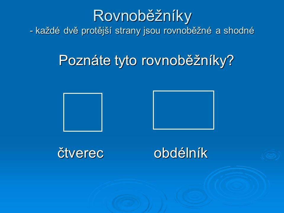 Rovnoběžníky - každé dvě protější strany jsou rovnoběžné a shodné Poznáte tyto rovnoběžníky? čtverecobdélník