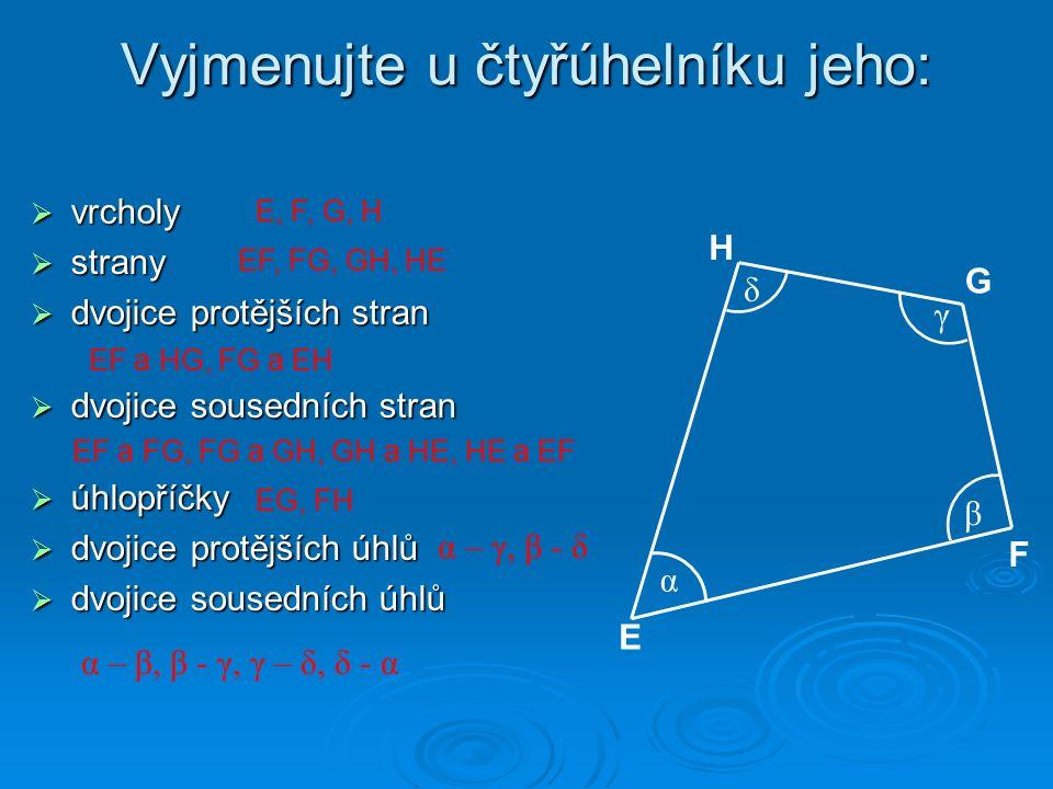 Vyjmenujte u čtyřúhelníku jeho:  vrcholy  strany  dvojice protějších stran  dvojice sousedních stran  úhlopříčky  dvojice protějších úhlů  dvojice sousedních úhlů α β γ δ E F G H E, F, G, H EF, FG, GH, HE EF a HG, FG a EH EF a FG, FG a GH, GH a HE, HE a EF EG, FH α – γ, β - δ α – β, β - γ, γ – δ, δ - α