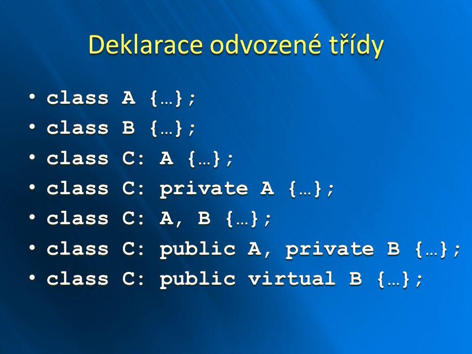 Deklarace odvozené třídy class A {…}; class A {…}; class B {…}; class B {…}; class C: A {…}; class C: A {…}; class C: private A {…}; class C: private A {…}; class C: A, B {…}; class C: A, B {…}; class C: public A, private B {…}; class C: public A, private B {…}; class C: public virtual B {…}; class C: public virtual B {…};