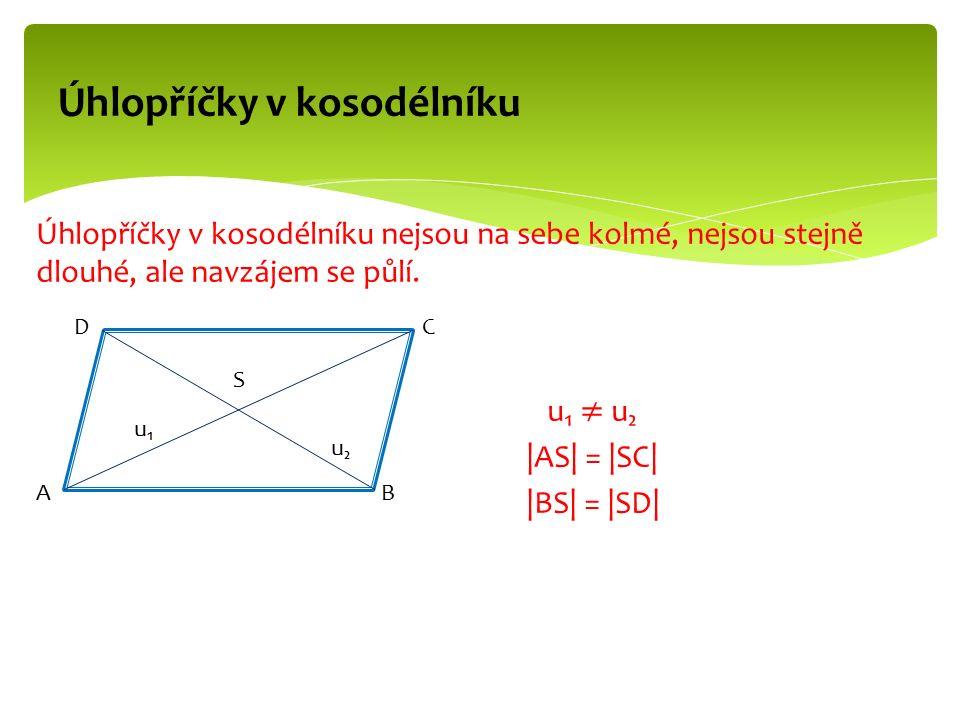 Úhlopříčky v kosodélníku A DC B u₁u₁ u₂u₂ S