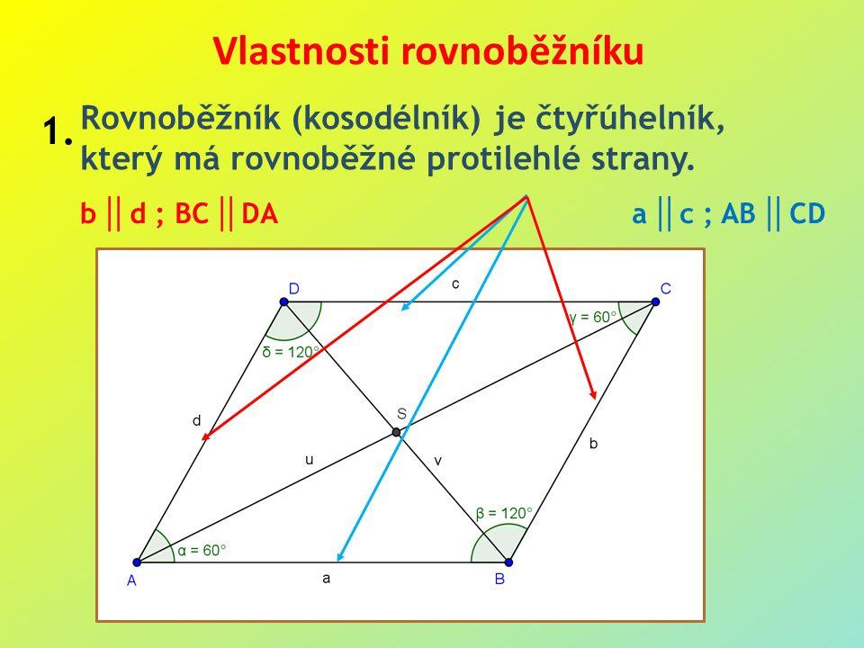 a  c ; AB  CD b  d ; BC  DA Vlastnosti rovnoběžníku Rovnoběžník (kosodélník) je čtyřúhelník, který má rovnoběžné protilehlé strany.