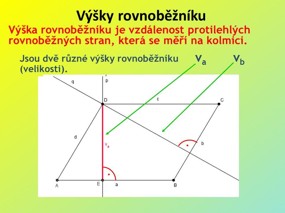 Výšky rovnoběžníku Výška rovnoběžníku je vzdálenost protilehlých rovnoběžných stran, která se měří na kolmici.