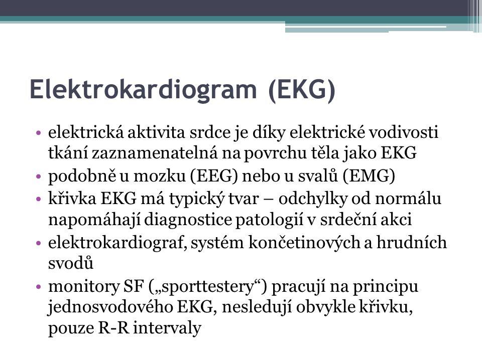 Elektrokardiogram (EKG) elektrická aktivita srdce je díky elektrické vodivosti tkání zaznamenatelná na povrchu těla jako EKG podobně u mozku (EEG) neb