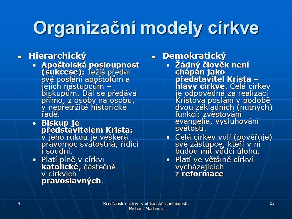 4 Křesťanské církve v občanské společnosti. Michael Martinek 13 Organizační modely církve Hierarchický Hierarchický Apoštolská posloupnost (sukcese):