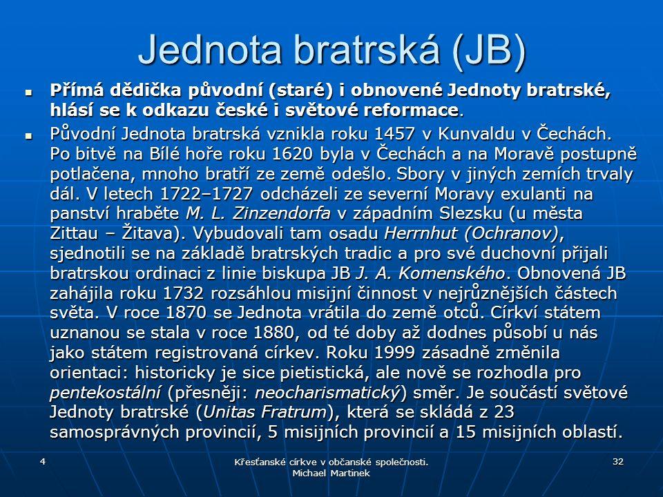 Jednota bratrská (JB) Přímá dědička původní (staré) i obnovené Jednoty bratrské, hlásí se k odkazu české i světové reformace. Přímá dědička původní (s