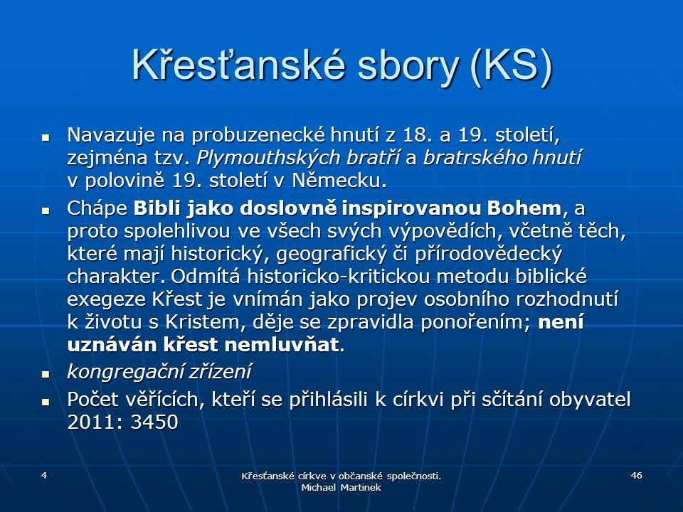 Křesťanské sbory (KS) Navazuje na probuzenecké hnutí z 18.