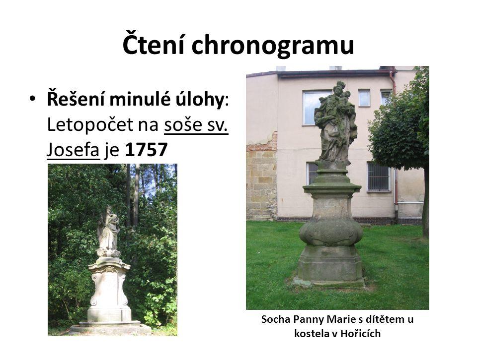 Čtení chronogramu Řešení minulé úlohy: Letopočet na soše sv.