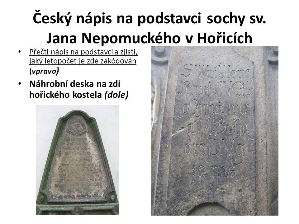 Český nápis na podstavci sochy sv.