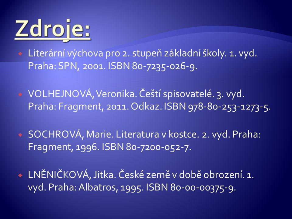  Literární výchova pro 2.stupeň základní školy. 1.