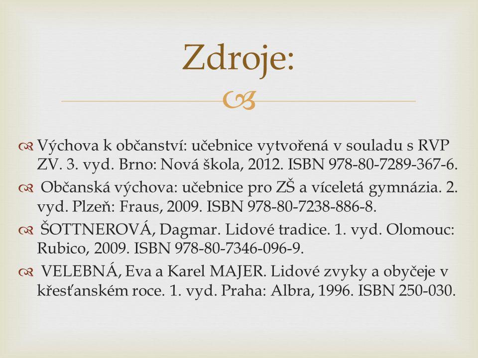  Výchova k občanství: učebnice vytvořená v souladu s RVP ZV. 3. vyd. Brno: Nová škola, 2012. ISBN 978-80-7289-367-6.  Občanská výchova: učebnice p