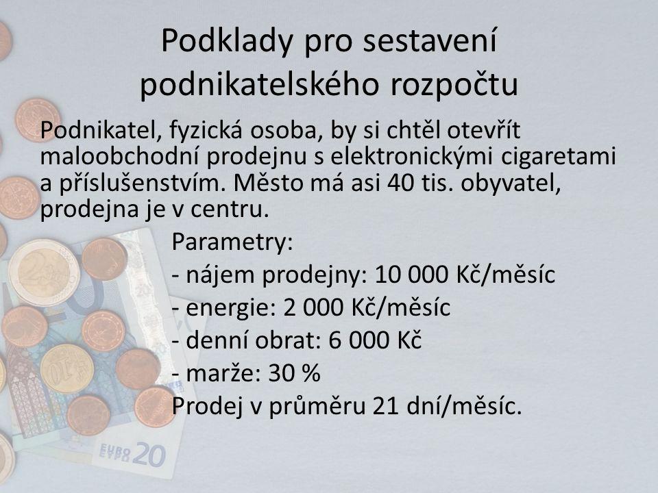 Podklady pro sestavení podnikatelského rozpočtu Podnikatel, fyzická osoba, by si chtěl otevřít maloobchodní prodejnu s elektronickými cigaretami a příslušenstvím.