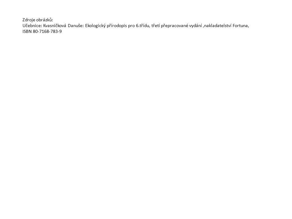 Zdroje obrázků: Učebnice: Kvasničková Danuše: Ekologický přírodopis pro 6.třídu, třetí přepracované vydání,nakladatelství Fortuna, ISBN 80-7168-783-9