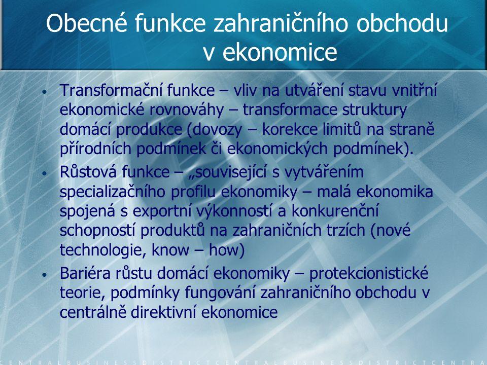 Obecné funkce zahraničního obchodu v ekonomice Transformační funkce – vliv na utváření stavu vnitřní ekonomické rovnováhy – transformace struktury domácí produkce (dovozy – korekce limitů na straně přírodních podmínek či ekonomických podmínek).