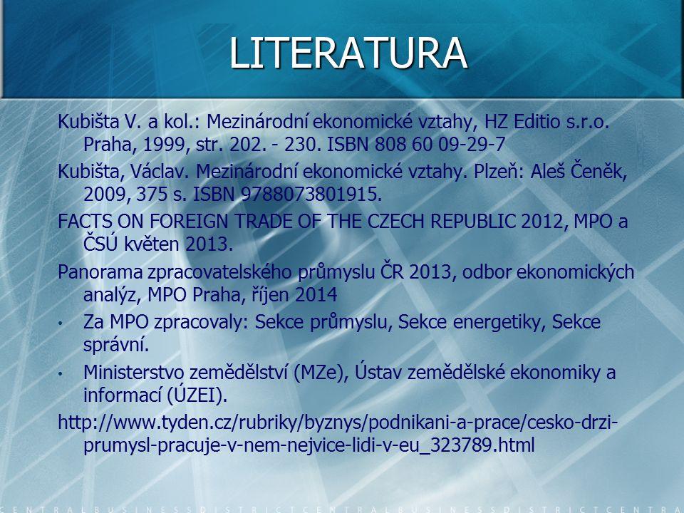 LITERATURA Kubišta V. a kol.: Mezinárodní ekonomické vztahy, HZ Editio s.r.o.