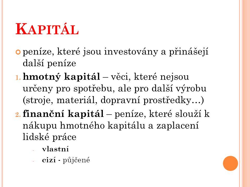 K APITÁL peníze, které jsou investovány a přinášejí další peníze 1. hmotný kapitál – věci, které nejsou určeny pro spotřebu, ale pro další výrobu (str