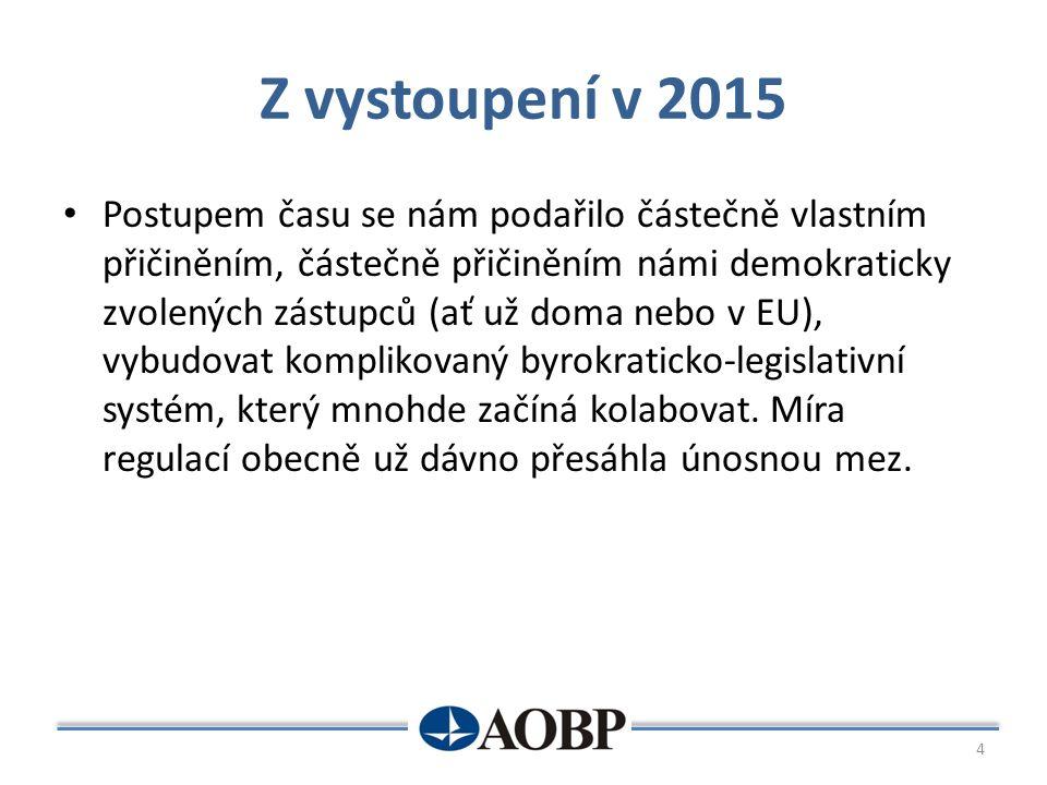 Z vystoupení v 2015 Postupem času se nám podařilo částečně vlastním přičiněním, částečně přičiněním námi demokraticky zvolených zástupců (ať už doma nebo v EU), vybudovat komplikovaný byrokraticko-legislativní systém, který mnohde začíná kolabovat.