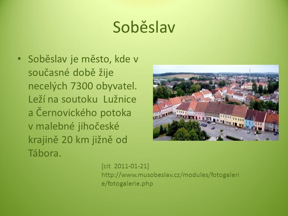 Soběslav Soběslav je město, kde v současné době žije necelých 7300 obyvatel. Leží na soutoku Lužnice a Černovického potoka v malebné jihočeské krajině