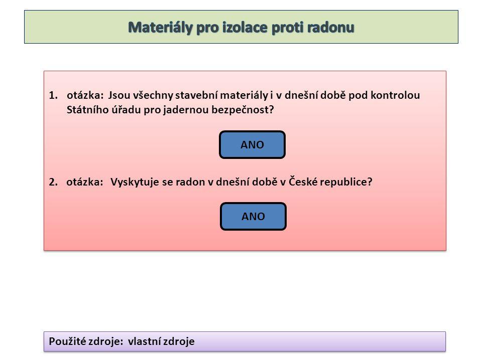 1.otázka: Jsou všechny stavební materiály i v dnešní době pod kontrolou Státního úřadu pro jadernou bezpečnost? 2. otázka: Vyskytuje se radon v dnešní