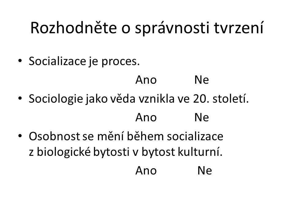 Rozhodněte o správnosti tvrzení Socializace je proces.