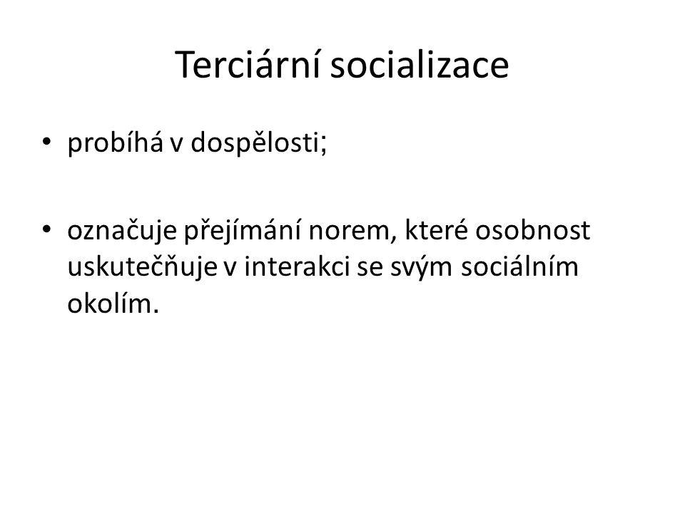 Terciární socializace probíhá v dospělosti ; označuje přejímání norem, které osobnost uskutečňuje v interakci se svým sociálním okolím.