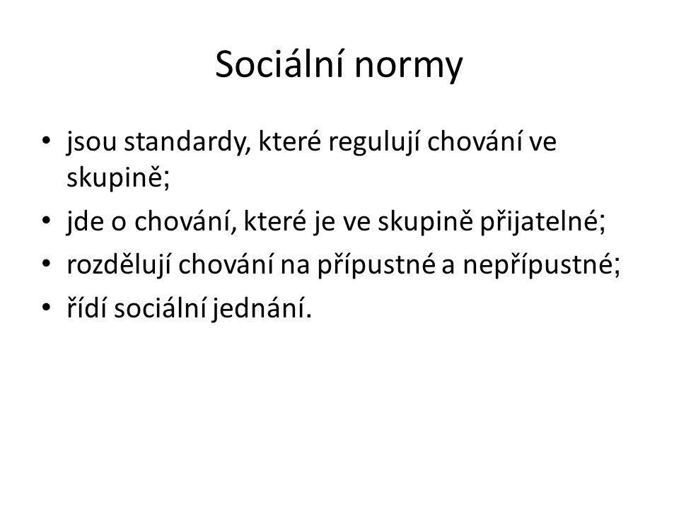 Sociální normy jsou standardy, které regulují chování ve skupině ; jde o chování, které je ve skupině přijatelné ; rozdělují chování na přípustné a nepřípustné ; řídí sociální jednání.