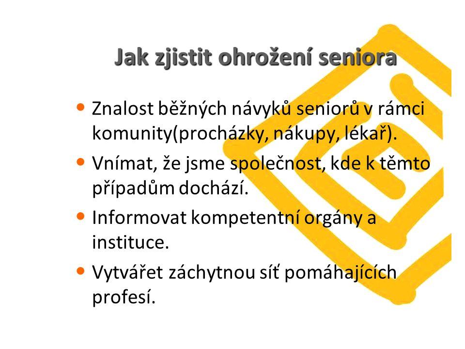 Jak zjistit ohrožení seniora Znalost běžných návyků seniorů v rámci komunity(procházky, nákupy, lékař).