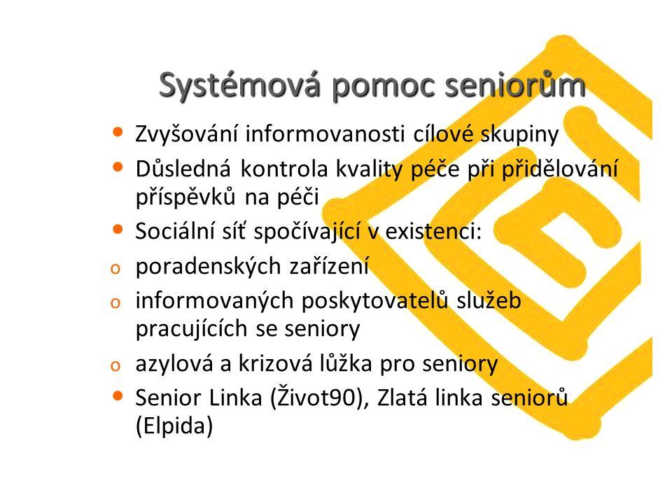 Systémová pomoc seniorům Zvyšování informovanosti cílové skupiny Důsledná kontrola kvality péče při přidělování příspěvků na péči Sociální síť spočívající v existenci: o poradenských zařízení o informovaných poskytovatelů služeb pracujících se seniory o azylová a krizová lůžka pro seniory Senior Linka (Život90), Zlatá linka seniorů (Elpida)