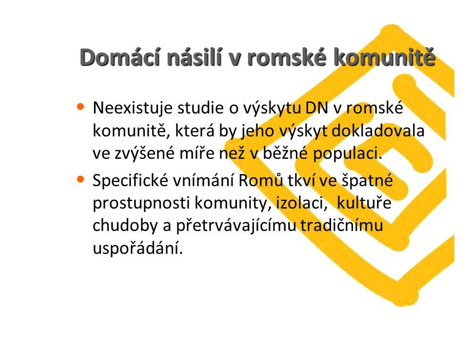 Domácí násilí v romské komunitě Neexistuje studie o výskytu DN v romské komunitě, která by jeho výskyt dokladovala ve zvýšené míře než v běžné populaci.