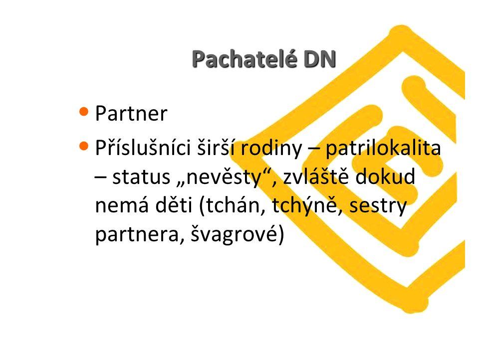 """Pachatelé DN Partner Příslušníci širší rodiny – patrilokalita – status """"nevěsty"""", zvláště dokud nemá děti (tchán, tchýně, sestry partnera, švagrové)"""