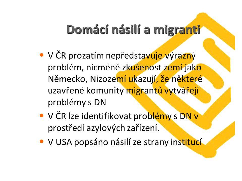 Domácí násilí a migranti V ČR prozatím nepředstavuje výrazný problém, nicméně zkušenost zemí jako Německo, Nizozemí ukazují, že některé uzavřené komunity migrantů vytvářejí problémy s DN V ČR lze identifikovat problémy s DN v prostředí azylových zařízení.
